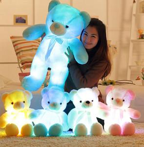 Los animales de peluche osos LED Glow lindo oso de felpa juguetes creativos colorido Peluches Kawaii de luz a los animales de la muñeca de los niños Juguetes de Navidad KKA8051