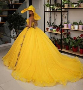 2020 Elegant Yellow Ball Gown Quinceanera Dresses Beads Sweetheart Graduation Dress Tulle Appliques Prom Gowns Sweet 16 Party Gowns