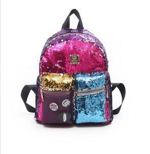 Lentejuelas para niños Bolsos Bling Bolsos Encantadores adolescentes para estudiantes de hombro primario Schoolbag Escuela Color Mochila Viaje Patchwork Bag Knapsac Brdt