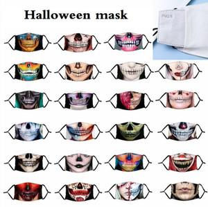 هالوين قناع الفم قناع الوجه مع تغطية PM2.5 تصفية الغبار مضاد فمه دثر قابل للغسل قابلة لإعادة الاستخدام الشخصية أقنعة الجمجمة للجنسين الديكور