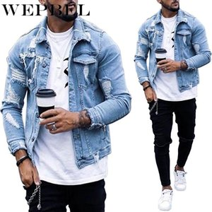 Men New Fashion Holes Light Blue Denim Jeans Short Jacket Casual Long Sleeve Punk Style Coat with Pockets Plus Size