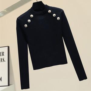 shintimes Перемычка Кнопки Падение Одежда для женщин 2020 зима вязаного свитера с длинным рукавом Свитера Женщины Черный Прицепного Femme д'Ивер