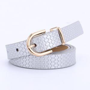 S1664 Girls Women's Jeans Decoration Belt Faux Leather Belts Eyes Metal Buckle PU Leather Belt