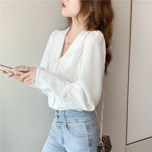 White Chiffon Blouses Women French Style Elegant Doll Collar Fashion Korean Lantern Long Sleeve Blouse Women Tops Shirt 11546