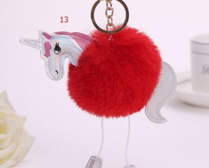 Coelho Unicorn Pony Keychain Adorável Fluffy Pendant Artificial Cadeia Fur Key Bag chave do carro Anel Pendure Bag Acessórios frete grátis