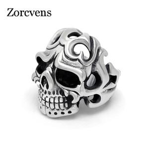 Cluster Rings ZORCVENS Vintage Gothic Stainless Steel Skull Ring For Men