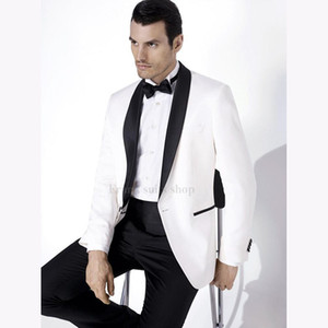 2020 Wedding Suits For Men Shawl Black Collar 2 Pieces Slim Fit White Jacket with Black pants Suit Mens Tuxedos ( jacket+Pants)