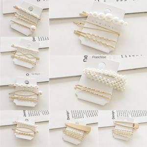 de cuatro piezas de horquilla conjunto BfMaW coreana perla dulce de la celebridad de Internet ins Súper de hadas de un carácter clip de borde explosiones de cuatro piezas Pearl St VaPk5