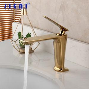 JIENI Golden Polished Bathroom Basin Faucet Solid Brass Gold Plated Deck Mount Faucet Vanity Mixer Plumbing Fixture Stream Tap