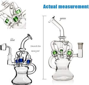 Klein recycleur huile Rigs épais verre d'eau Bangs Pipe Heady verre Dab Rigs Pipes hautes Bongs eau avec couleur Perc 14mm Bowl
