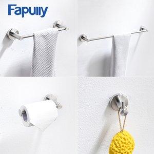 Fapully accesorios de baño 304 de acero inoxidable cepillado Níquel pared Monte la barra de toalla gancho del traje de baño del sostenedor de papel conjuntos de Hardware
