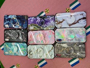 para iPhone 11 XS MAX / XR / X macio TPU caso adequado Pro / telemóvel com pedra de mármore estande de moda caixa do telefone móvel,