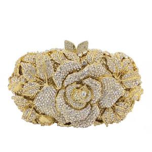 Designer-Johnature New Rose avec des diamants marqueté Sacs de soirée Banquet Gem strass évider luxe Sac Femmes Mode Sac d'embrayage