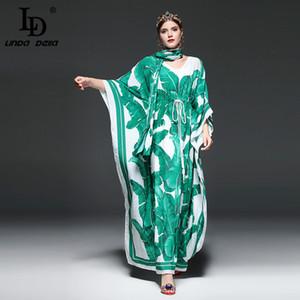 Yüksek Kaliteli Pist Moda Tasarımcısı Maxi Elbise Kadın Batwing Sleeve Green Palm Yaprak Çiçek Gevşek Casual Uzun Elbise LJ200824 yazdır