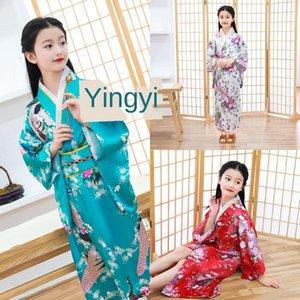 dJf2M Новой детской кимоно японской девушка kimonoBathrobe Кимоно одежда производительность мило бант цветочных Новые детские кимоно японка
