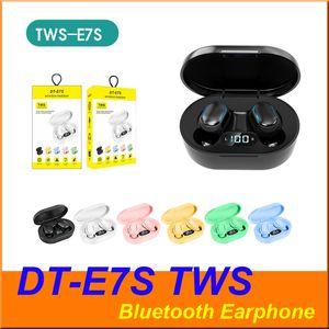 TWS E7S DT-E7S Bluetooth senza fili cuffia auricolare di controllo Pulsante con display a LED auricolari impermeabile Sport auricolare 6 colori colorato