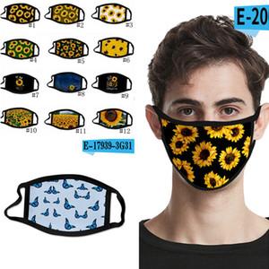 3D Dijital Yüz maskeleri Elastik Kumaş Kumaş Ağız yazdır Maske Ayçiçeği Yeniden kullanılabilir Karşıtı Haze toz geçirmez Kapak mascarilla 500pcs T1I2333 Maske