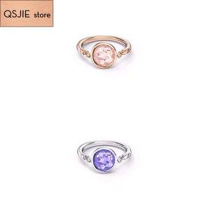 QSJIE de haute qualité SWA nouveau style. anneau de couleur cristal de bonbons simple