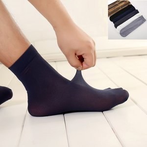 New Solid 5pairs Lot Business Mens Summer Socks Thin Silk High Elastic Nylon Breathable Casual Short Crew Socks Male Cool