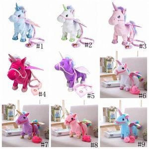 Eléctricos unicornio Doll PlushToys Walking relleno caballo animal juguetes electrónicos música Canto niños juguete chinldren Navidad regalos rellenos G 0eAg #