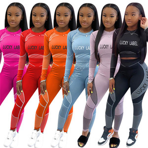 Women Tracksuit Lucky Label Letters Long Sleeves T Shirt Crop Top Tight Leggings Pants Running Two Piece Outfits Sports Suit S-XXL D92305