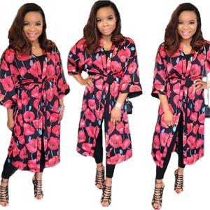 Casual Fashion Floral Printed Midi Cloak Women Holiday Beach Wear V-Neck Half Sleeve Lace-Up Mid-Calf Cloak Coats 2020 Autumn
