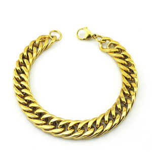 """Banhado a ouro Aço Inoxidável Curb cadeia cubana Joalheria Moda, 8,7"""" de comprimento, 10 mm de largura, Atacado frete grátis, WB003."""