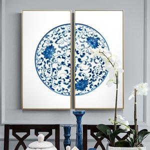 Style moderne chinois Vase chinois bleu et blanc toile Peintures Affiches et copies pour Living Wall Study Room Art Couple HD