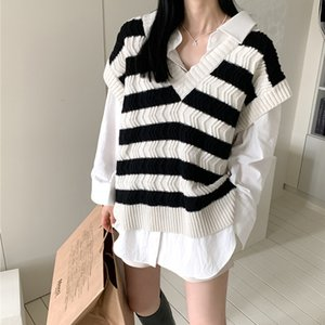 Women's Vests RUGOD 2021 Arrival Patchwork Women Sweater Vest V-neck Sleeveless Female Clothing Fashion Chic Outfit