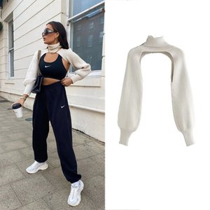 2020 New Women Knitted Top Knit Arm Warmers High Neck Long Sleeves Sweater Casual Stylish Sweater Vintage Women Sweaters