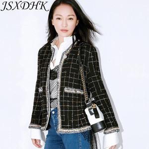 JSXDHK Runway Designer Damen Tweed Jacke Herbst Winter Plaid Black Quaste Webart Mantel Vintage Einreiher Oberbekleidung S-3XL