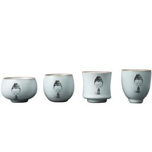 Buda Accesorios de la ceremonia de taza de té de cerámica de gres de la vendimia del té drinkware decoración para el hogar Zen sola taza maestro