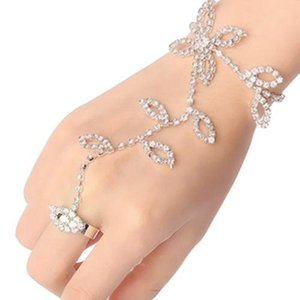 brief women Crystal Rhinestone Leaf Hand Harness Slave Chain Link Foot Finger Ring Fashion Party Decoration Rings Jewelr