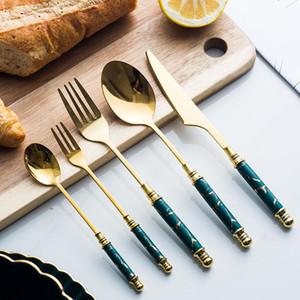 2/3 / 5PCS Vaisselle en céramique Fourchette Cuillère Couteau Couverts Vintage Set 304 Dîner en acier inoxydable de vaisselle vert