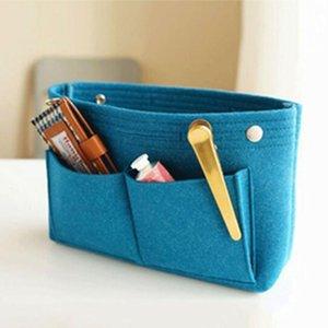 Las mujeres Foldabled multibolsillos portátil duradero Fácil de almacenamiento útil de inserción del bolso bolsa de fieltro Organizador