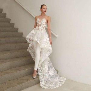 Новая великолепный цветочный белый аппликациями High Low-линия Пром платье с декольте Поезда Illusion Chic Торжественной одеждой платья события с брюками