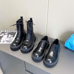 Sonbahar Kış Martin Çizmeler 100% Inek Derisi Kadın Ayakkabı Platformu Lace Up Çizmeler Yeni Stil Deri Ayakkabı Düz Metal Fermuar Moda Çizmeler 35-41