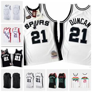 UominiSanAntonioSpurs Tim Duncan 21 Mitchell Ness 1998-1999 Jersey autentica