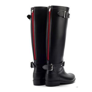 Punk Estilo Zipper altos Água sapatos de borracha Pure Color botas de chuva ao ar livre de Botas Mulheres Femininas 36-41 positiva do tamanho