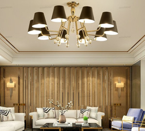 Postmodern Minimalist Chandelier Living Room Lamp Bedroom Study Hall Hotel Lobby Minimalist Golden Iron Atmosphere Chandelier