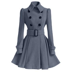 Liva ragazza delle donne di inverno risvolto Cappotto del rivestimento della trincea a maniche lunghe cappotto Outwear