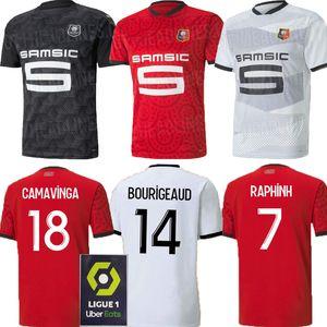 20 21 Stade Rennais terceiro futebol CAMAVINGA jérsei 2020 2021 Rennes casa preto Fora camisa Raphinha Bourigeaud NIANG HUNOU TERRIER Futebol
