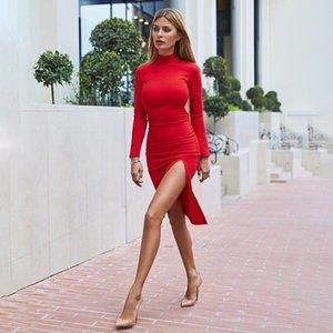 2019 горячая осень длинная юбка длинную юбку втулки сексуальное раздвоение HIP-покрытие тонкий стрейч средней длины платье 5223 862Bk