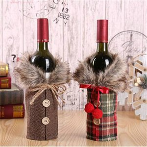 New Christmas Drinks Wine Bottle Cover with Bow Plaid Linen Bottle Clothes Male Female Coat with Fur Collar Xmas Decoration Supplies LY927