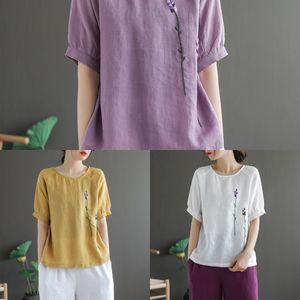 I20vX K0dvJ antiguo café bordado artístico tridimensional ropa Top Menaje nacionalidad nacionalidad cuello redondo ramio camiseta de las mujeres'