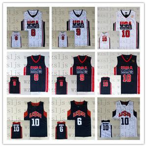 Baloncesto masculino Jersey Drexler 10 Pippen 8 James 6 Equipo de EE.UU. Blanco Negro al aire libre cómodo y transpirable deportes Jersey