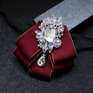 British Designer Men's Suit Shirt Rhinestone Bow Tie Trendy Fashion High Quality Wedding Groom Kids Bowtie for Men Accessories