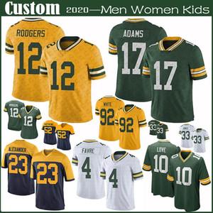 12 Aaron Rodgers YeşilDefneÖzel Erkek Bayan Çocuk PackerFutbol Formalar 33 Aaron Jones 17 Davante Adams 87 Jordy Nelson 10 Aşk