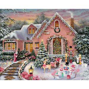 JMINE Div 5D Christmas Tree House Country Full Diamond Painting cross stitch kits art High Quality xmas 3D paint by diamonds 0922