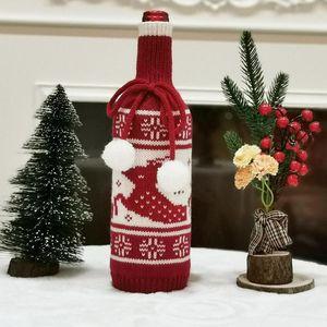 Copa de garrafa de vinho de malha Creative Tree Elk floco de neve de malha de vinho Natal tampa de garrafa de vinho decoração decorações de Natal GWC2381